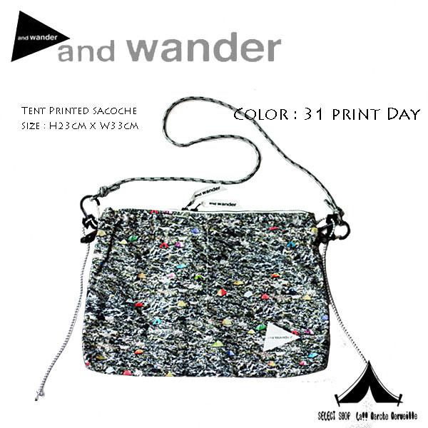 【 andwander 】 アンドワンダー tent printed sacoche テントプリント・サコッシュ