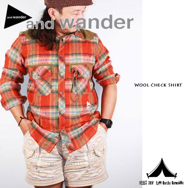 【 andwander 】 アンドワンダー wool check shirt (M) ウールチェックシャツ