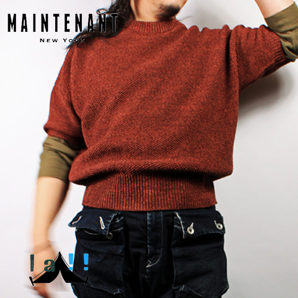 【 Maintenant N.Y. 】 メンテナント Paper Yarn Moss Stitch Oversized Summer Knit オーバーシルエット・サマーニット