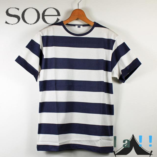 【 Soe 】 ソーイ H.S.Crew Printed Border T クルーネックボーダーTシャツ