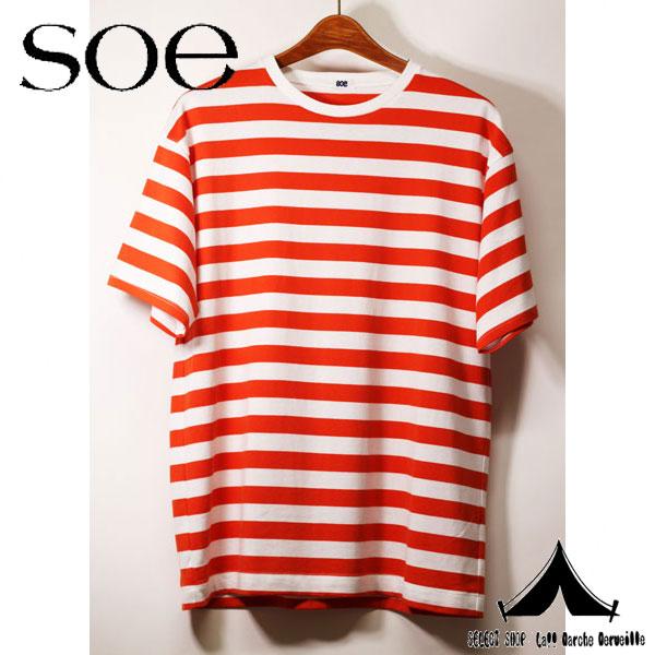 【 soe 】 ソーイ BORDER H/S T-SHIRT クルーネックボーダーTシャツ