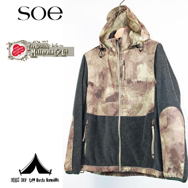 【 Soe × B.MILLERAIN 】 ソーイ×ブリティッシュ・ミラレーン Hooded Fleece Jacket Camouflage Oil Cloth フリースジャケット[ 1163-41-013 ]
