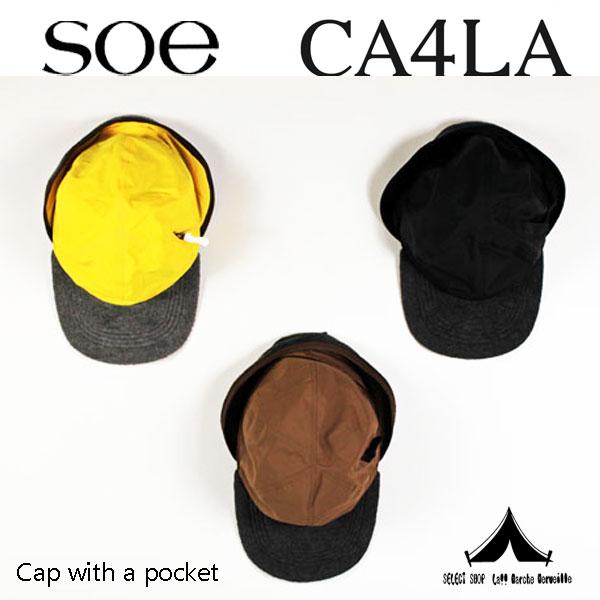 【 Soe × CA4LA 】 ソーイ×カシラ Ear Muff Cap with a pocket ポケット付きイヤーマフ・キャップ