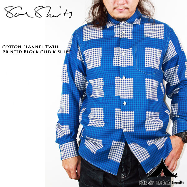 【 Soeshirts 】 ソーイシャツ Cotton French Twil Printed Block Check Shirt