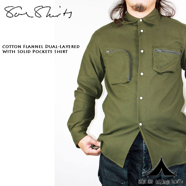 【 Soeshirts 】 ソーイシャツ Cotton Flannel Dual - Layered With Solid Pockets Shirt