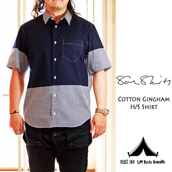 【 Soe Shirts 】 ソーイシャツ Cotton Gingham Check H/S Shirt ギンガムチェック・ハーフスリーブシャツ