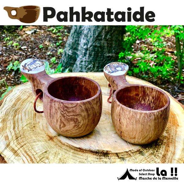 "【 Pahkataide 】 パッカタイデ  KUKSA Made With ""VISAKOIVU""Curly Birch and Elk Horn (ヴィサコイブ・カーリーバーチとエルクホーンのククサ)"