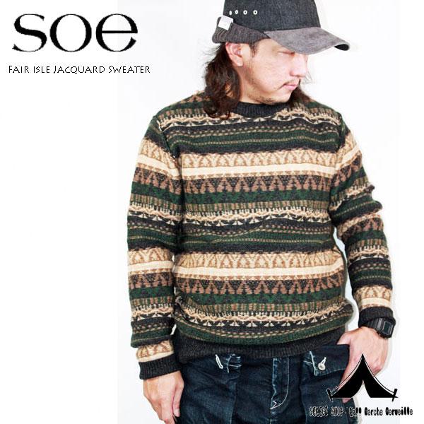 【 Soe 】 ソーイ Fair isle Jacquard Sweater フェアアイル柄・ジャガード・セーター