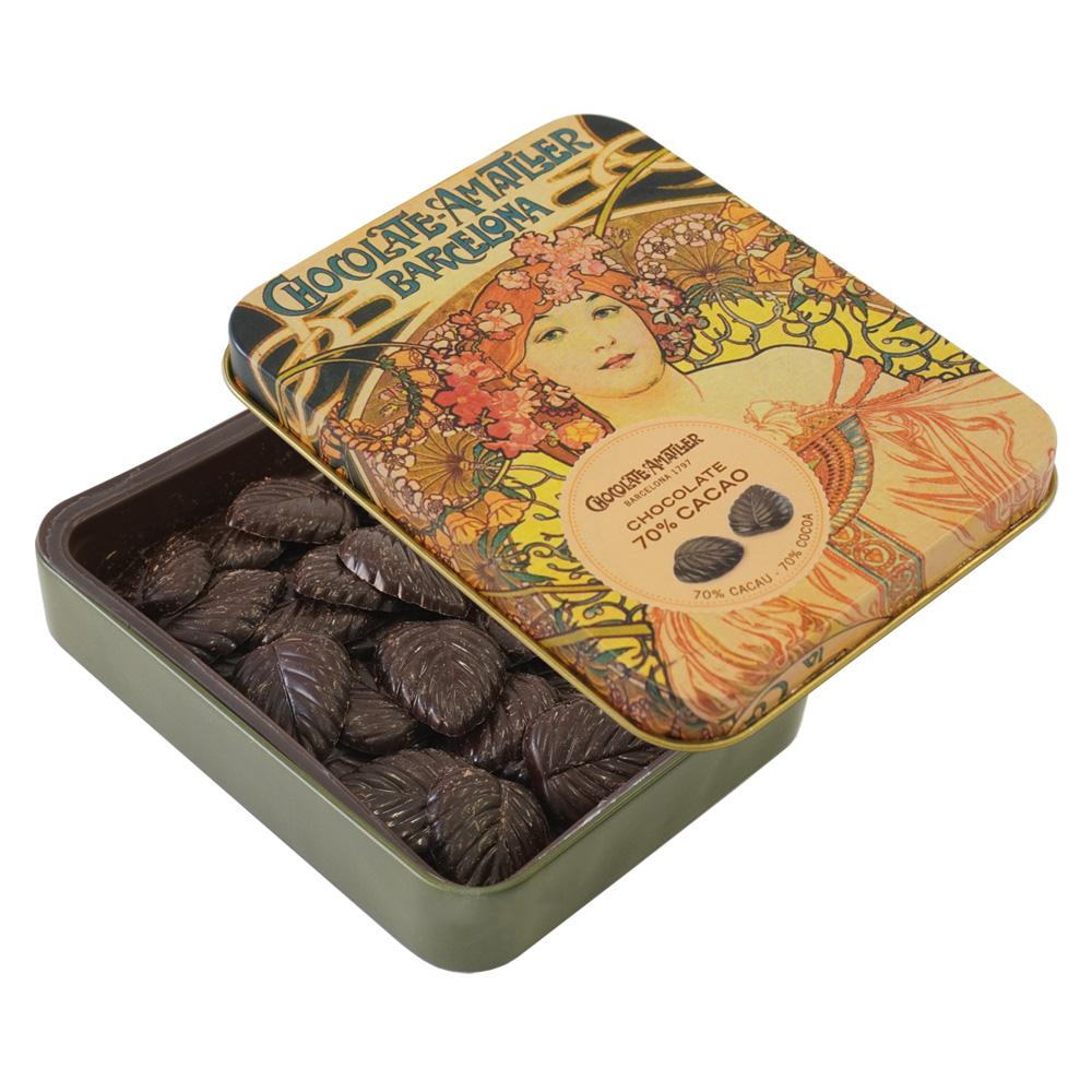 アマリエ ダークチョコレート70% リーフチョコ60g開封 AMATLLERミュシャ缶「夢想」