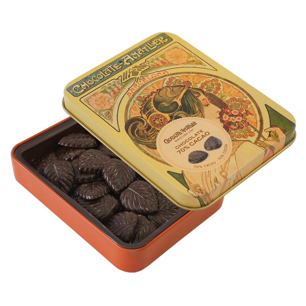アマリエ ダークチョコレート70% リーフチョコ60g開封 AMATLLERミュシャ缶「桜草」