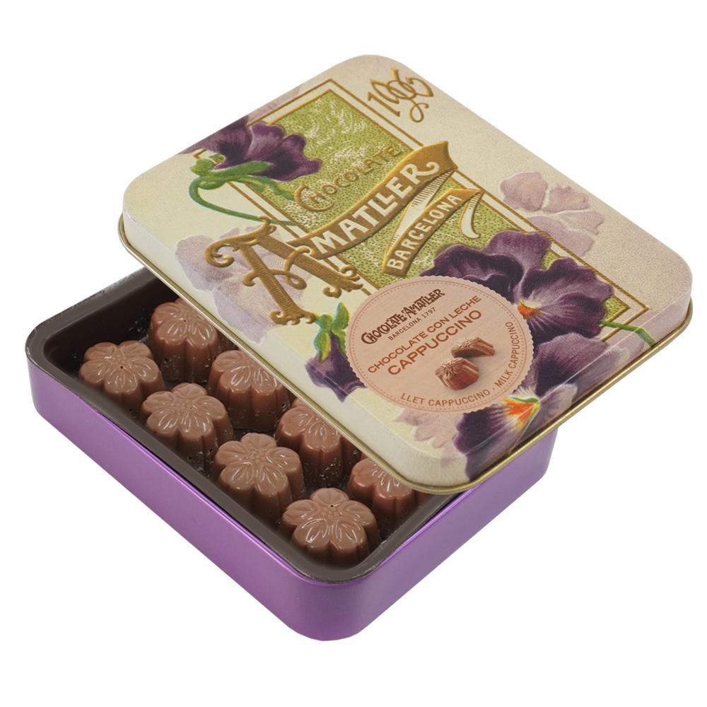 アマリエ チョコレート カプチーノミルクチョコ缶72g AMATLLER 紫すみれ