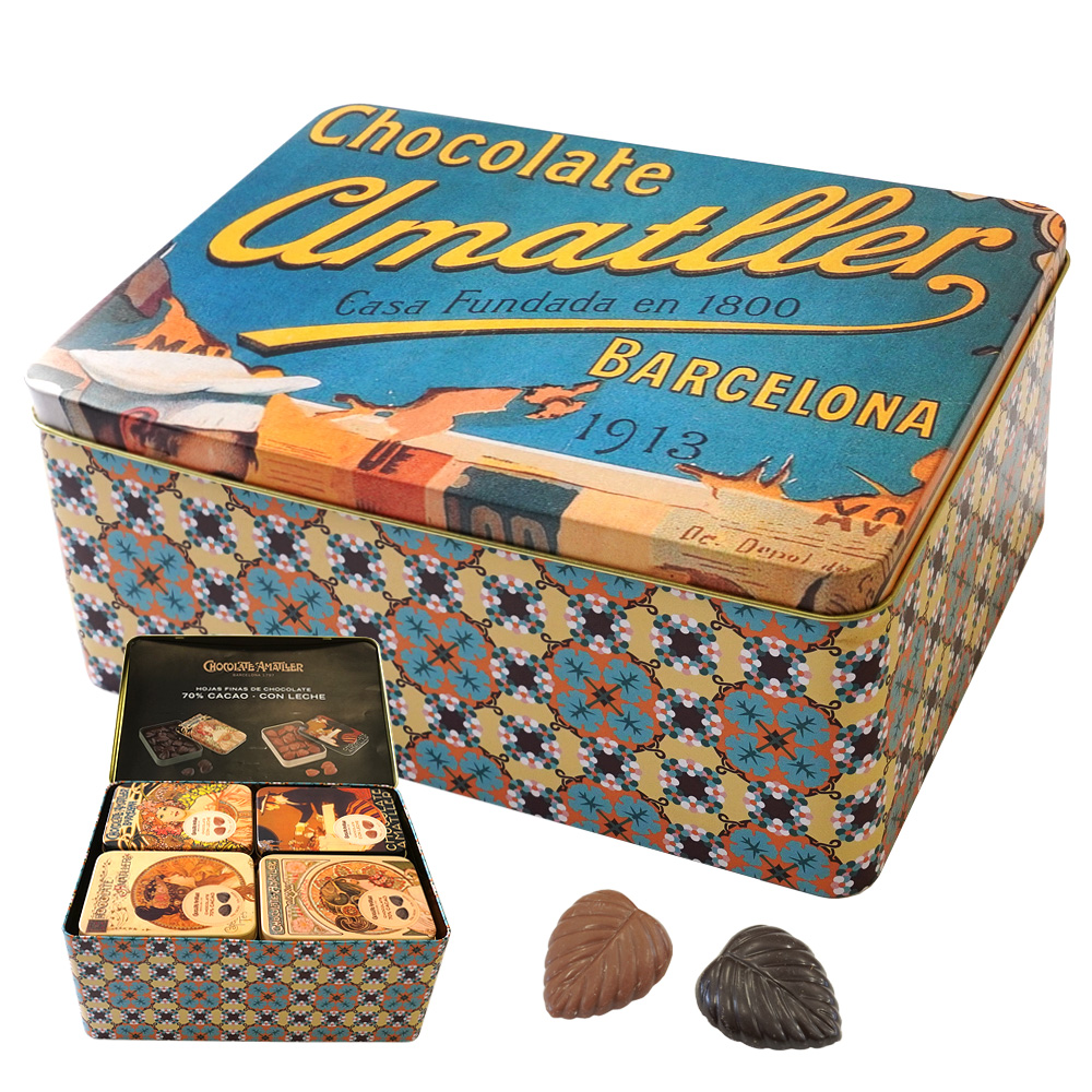 アマリエ アソート缶 リーフチョコレート ミュシャデザイン缶 60g×20個 AMATLLER CHOCOLATE