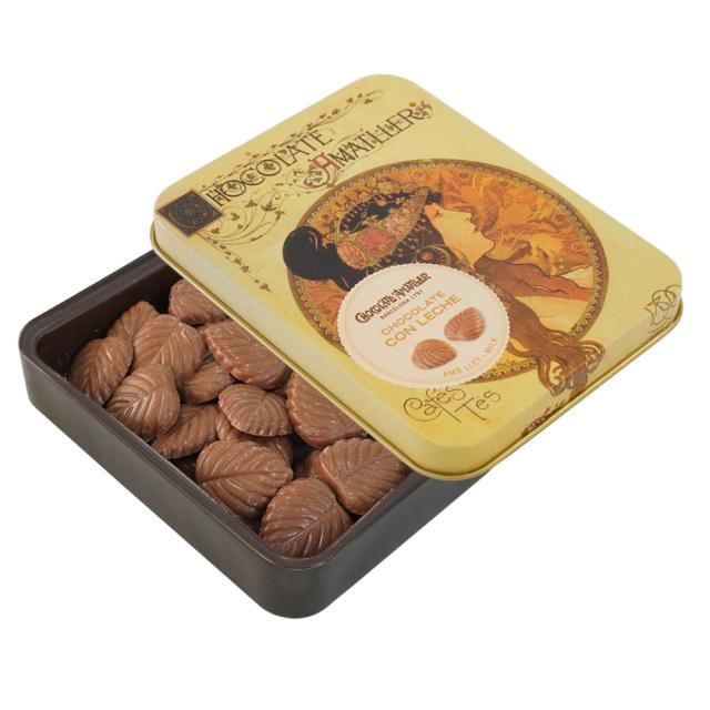 アマリエ ミルクチョコレート32% リーフチョコ60g開封 AMATLLERミュシャ缶「ビザンチン」