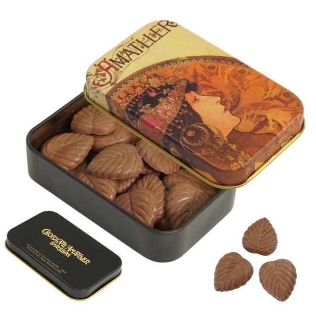 アマリエ ミルクチョコレート32% リーフチョコ30g AMATLLERミュシャ缶「ビザンチン」