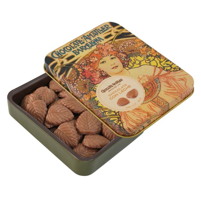 アマリエ ミルクチョコレート32% リーフチョコ60g開封 AMATLLERミュシャ缶「夢想」