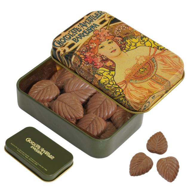 アマリエ ミルクチョコレート32% リーフチョコ30g AMATLLERミュシャ缶「夢想」