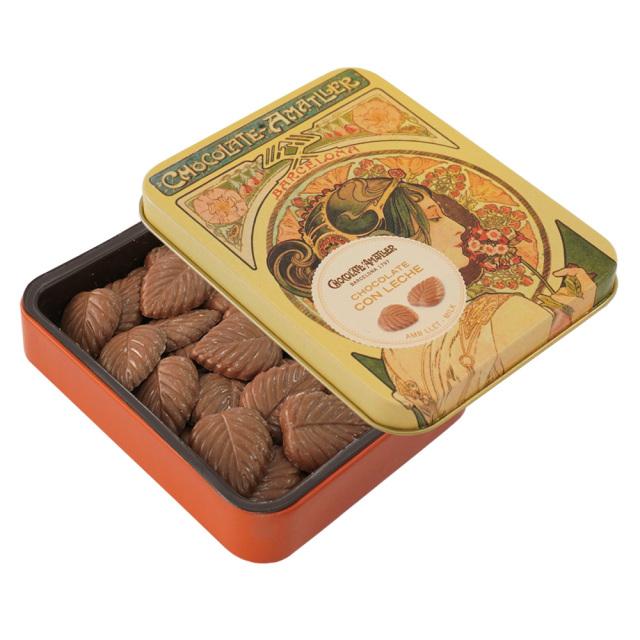 アマリエ ミルクチョコレート32% リーフチョコ60g開封 AMATLLERミュシャ缶「桜草」