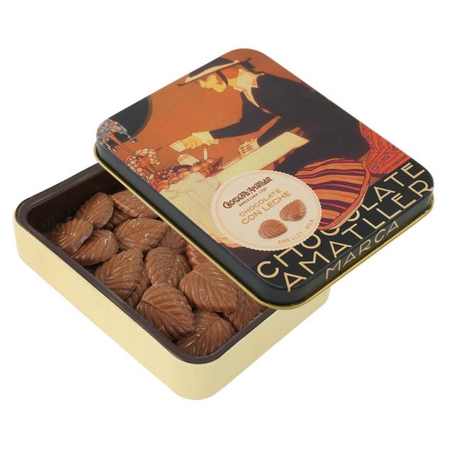アマリエ ミルクチョコレート32% リーフチョコ60g開封 AMATLLERペナゴス缶「カフェ」