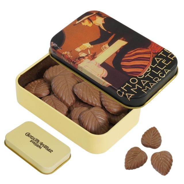 アマリエ ミルクチョコレート32% リーフチョコ30g AMATLLERペナゴス缶「カフェ」