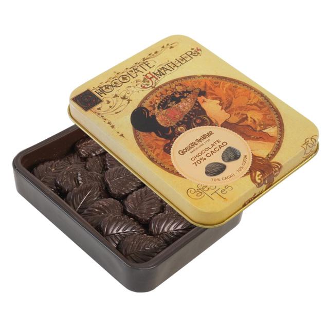 アマリエ ダークチョコレート70% リーフチョコ60g開封 AMATLLERミュシャ缶「ビザンチン」