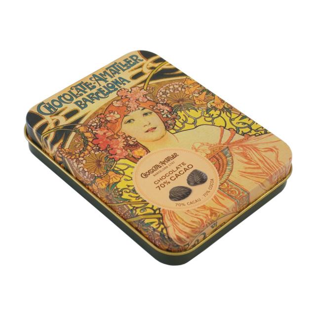 アマリエ ダークチョコレート70% リーフチョコ60g AMATLLERミュシャ缶「夢想」