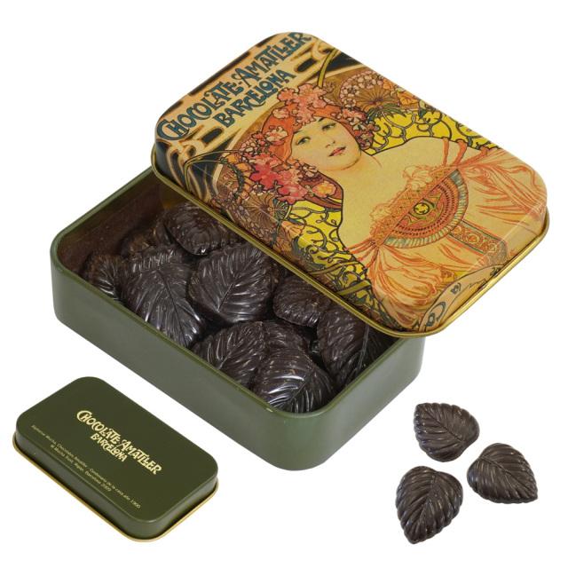 アマリエ ダークチョコレート70% リーフチョコ30g AMATLLERミュシャ缶「夢想」