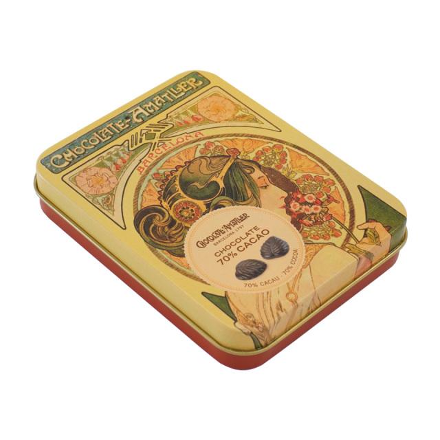 アマリエ ダークチョコレート70% リーフチョコ60g AMATLLERミュシャ缶「桜草」