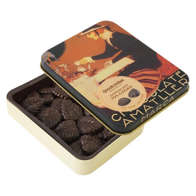 アマリエ ダークチョコレート70% リーフチョコ60g開封 AMATLLERペナゴス缶「カフェ」