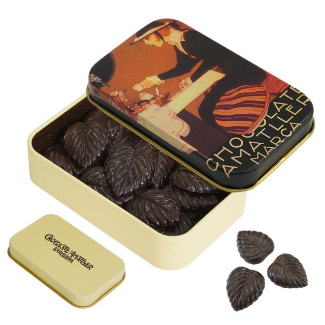 アマリエ ダークチョコレート70% リーフチョコ30g AMATLLERペナゴス缶「カフェ」