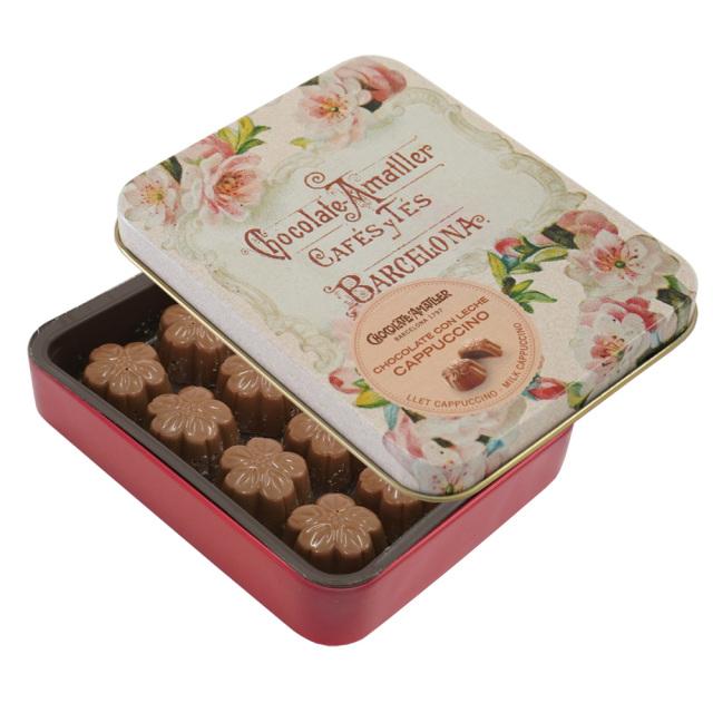アマリエ チョコレート カプチーノミルクチョコ缶72g AMATLLER 赤アーモンドの花