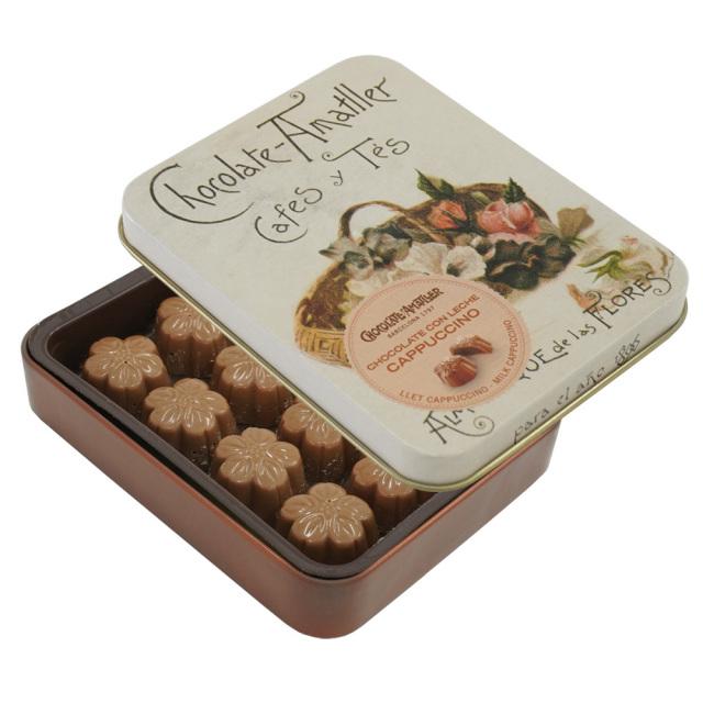 アマリエ チョコレート カプチーノミルクチョコ缶72g AMATLLER 茶色バラとパンジー
