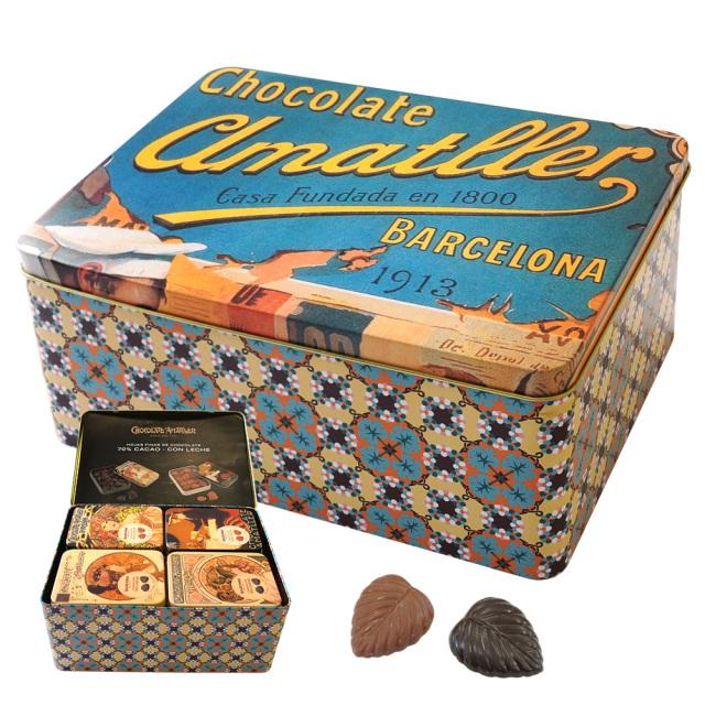 アマリエチョコレート ミュシャデザイン アソート缶 リーフチョコ60g×20個 AMATLLER CHOCOLATE