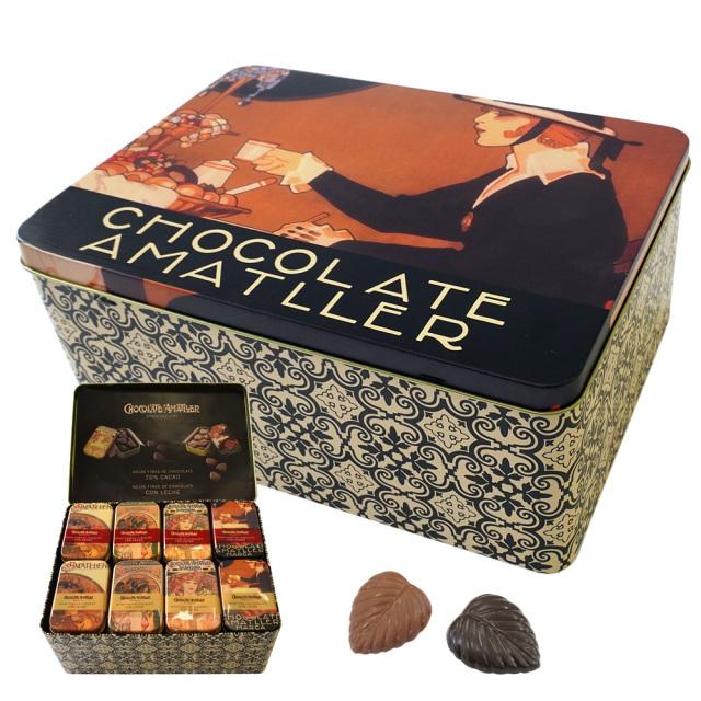 アマリエチョコレート ペナゴス「カフェ」アソート缶 ミュシャ絵リーフチョコ30g×40個 AMATLLER CHOCOLATE