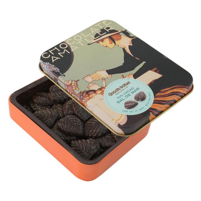アマリエ ソルトチョコレート カカオ70% リーフチョコ60g開封 AMATLLERペナゴス缶「カフェ」