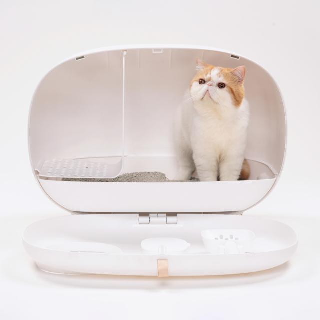 おしゃれな猫トイレ スコップ付き 猫砂飛び散り防止 HEBENA