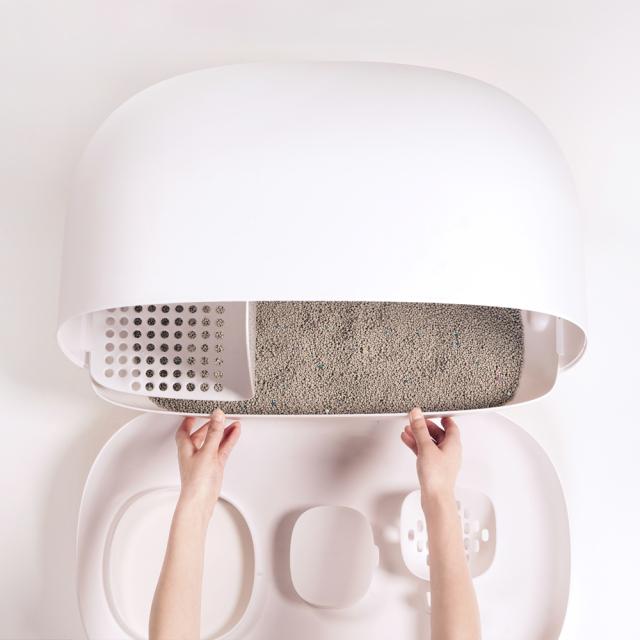 猫トイレ スコップ付き 猫砂飛び散り防止 大型 HEBENA フタを開けて中を引き出せる 収納スペース付