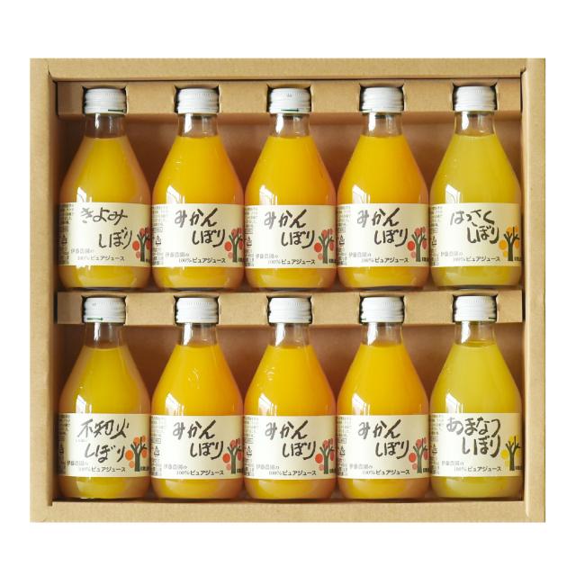 柑橘5種100%ストレートジュース(180ml×10本) ギフトセット 無添加 和歌山県伊藤農園 (みかん・不知火・はっさく・きよみ・あまなつ)