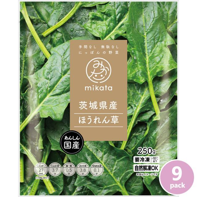 茨城県産冷凍ほうれん草9pack 国産野菜 手間なし無駄なしmikata 茨城県ニチノウ