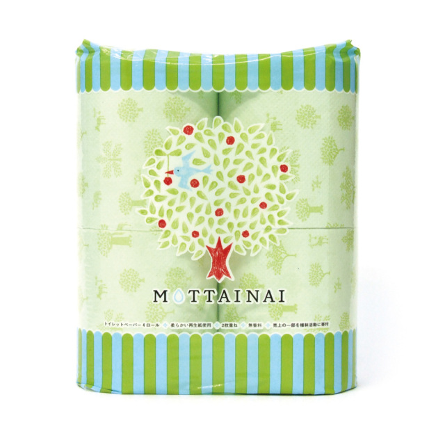 MOTTAINAI トイレットペーパー 114mm×30mダブル4ロール 再生紙100% 林製紙株式会社