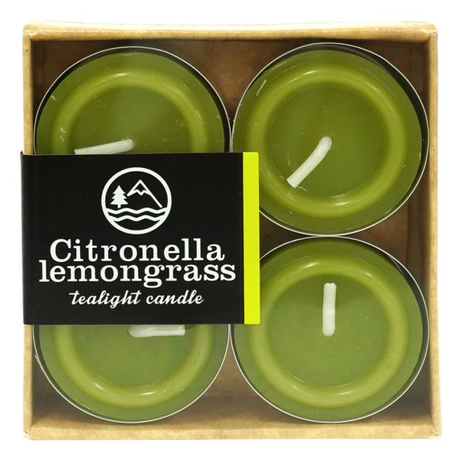 ティーライトキャンドル シトロネラレモングラス4個入俯瞰 天然虫よけ・アウトドア アロマキャンドル カメヤマキャンドル