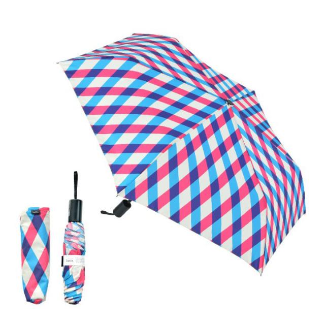 Danke 晴雨兼用折りたたみ傘 CheckBluePink 超撥水・ハンドル抗菌・UVカット