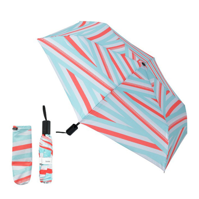 Danke 晴雨兼用折りたたみ傘 IrregularStripeRed 超撥水・ハンドル抗菌・UVカット