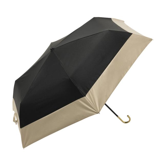 晴雨兼用傘 折りたたみ傘 レディース バイカラー ブラック because(ビコーズ)