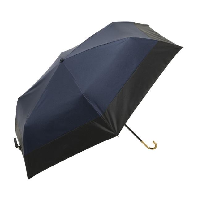 晴雨兼用傘 折りたたみ傘 レディース バイカラー ネイビー because(ビコーズ)