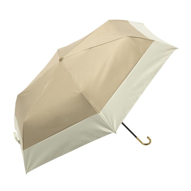 晴雨兼用傘 折りたたみ傘 レディース バイカラー ベージュ because(ビコーズ)