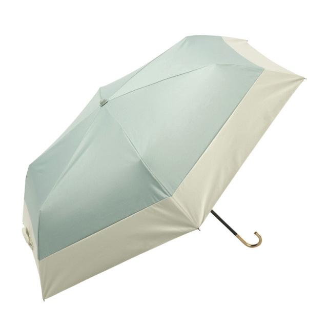 晴雨兼用傘 折りたたみ傘 レディース バイカラー グリーン because(ビコーズ)