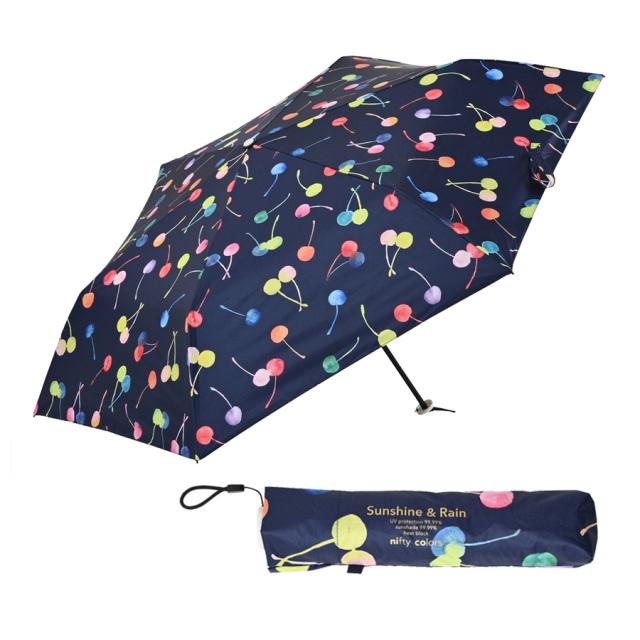 晴雨兼用傘 レディース 折りたたみ傘 ナイトチェリー niftycolors(ニフティカラーズ)
