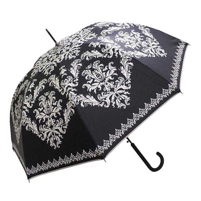 晴雨兼用傘 レディース ジャンプ傘 ダマスク柄ブラック Lune jumelle(ルナ・ジュメイル)