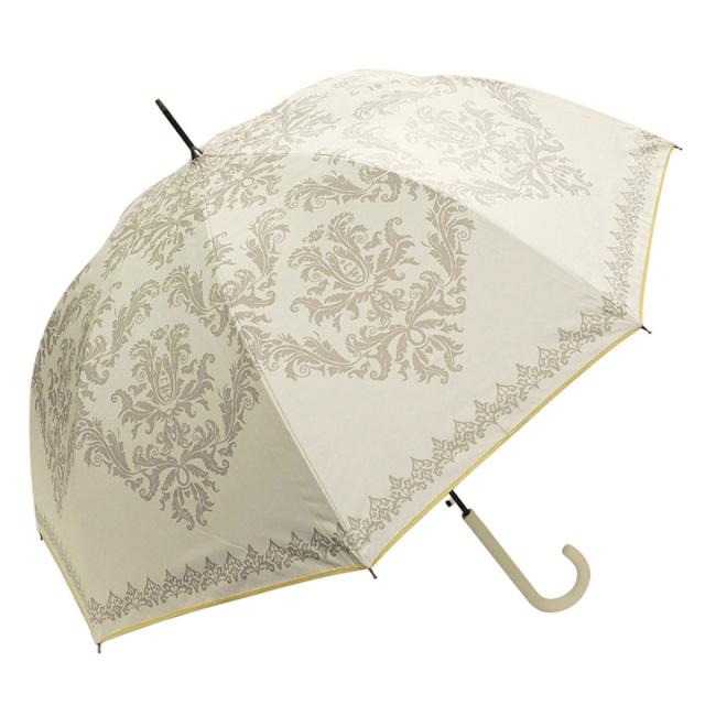 晴雨兼用傘 レディース ジャンプ傘 ダマスク柄ホワイト Lune jumelle(ルナ・ジュメイル)