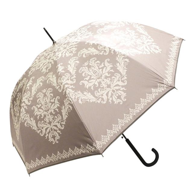 晴雨兼用傘 レディース ジャンプ傘 ダマスク柄モカ Lune jumelle(ルナ・ジュメイル)